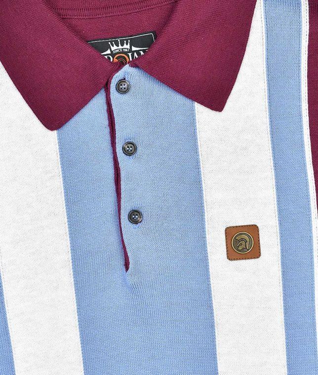 Trojan Records Port Multi Stripe Knit Polo Shirt