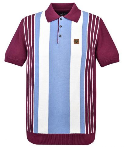 Trojan Records Port Multi Stripe Knit Polo Shirt