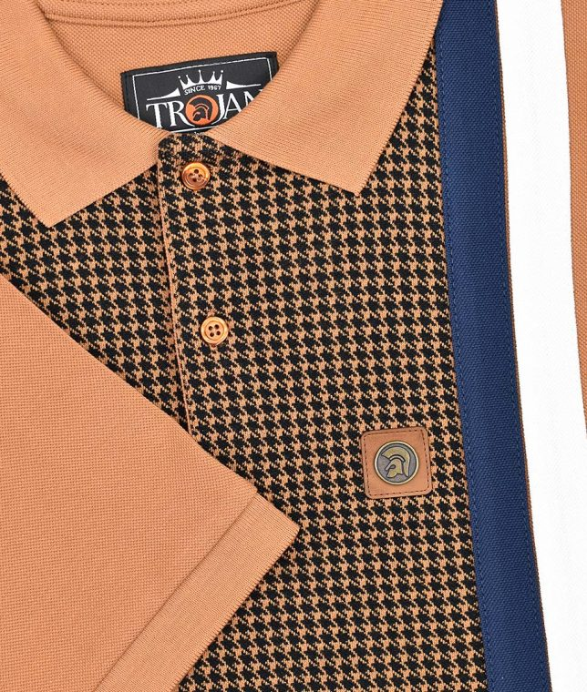 Trojan Records Tan Houndstooth Panel Polo Shirt