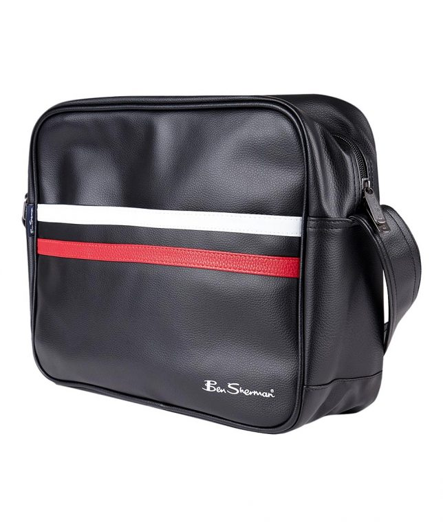 Ben Sherman Black PU Messenger Bag