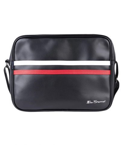 Ben Sherman Black PU Messenger Bag