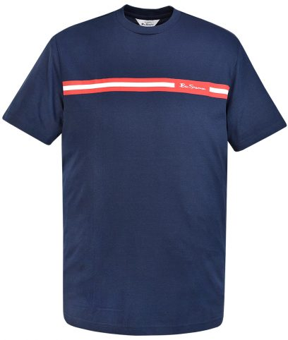 Ben Sherman Navy Printed Chest Stripe T-Shirt