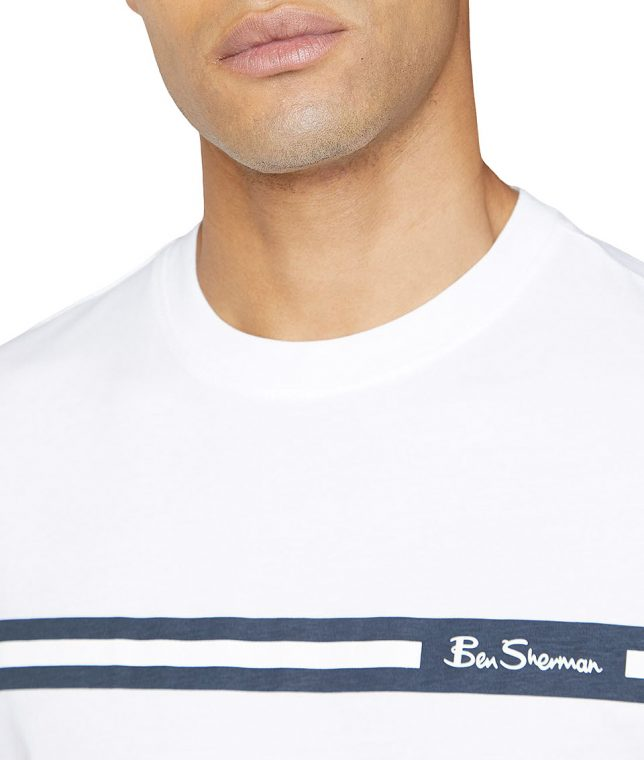 Ben Sherman White Printed Chest Stripe T-Shirt