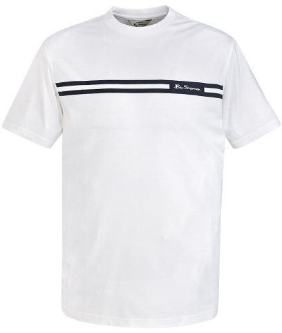 Ben Sherman White Printed Chest Stripe T-Shirt