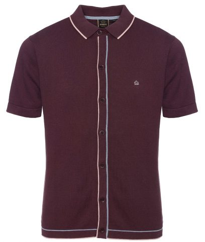 Merc Grape Devon Tipped Knit Polo Shirt