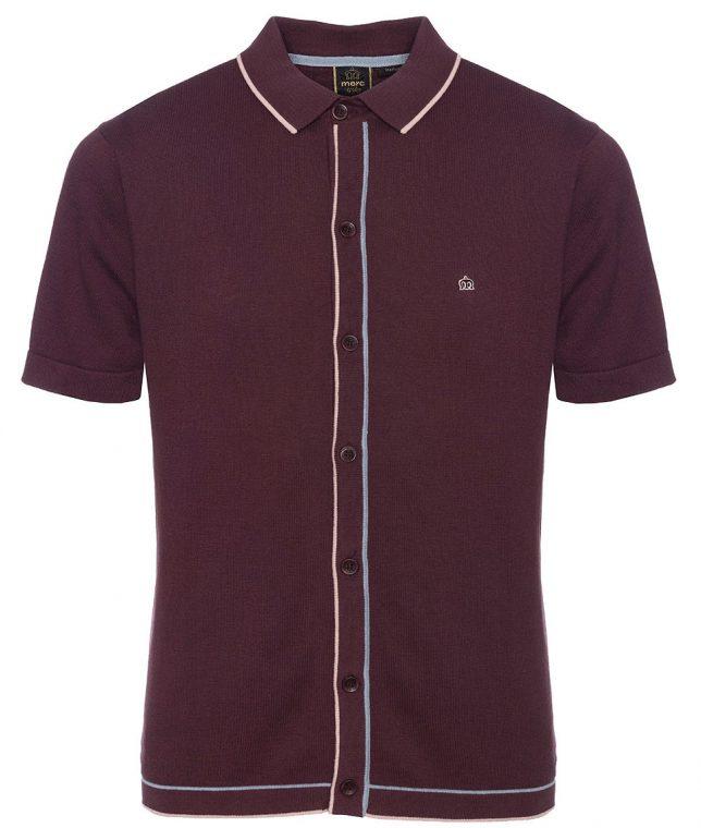 Merc Grape Devon Tipped Knit Polo Shirt