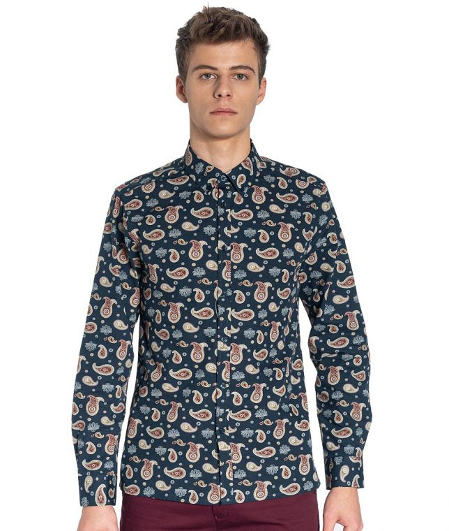 Merc Navy Keane Paisley LS Shirt