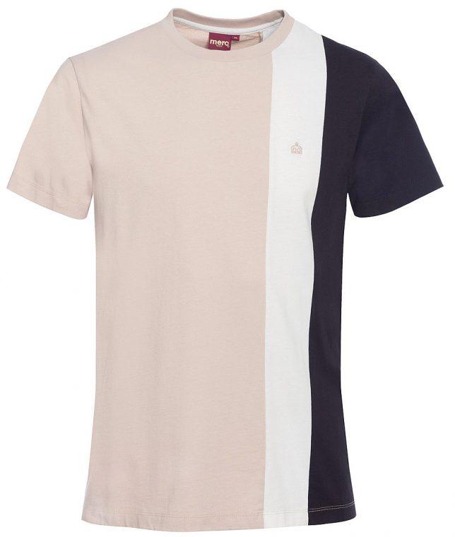 Merc Stone Naples Stripe Panel T-Shirt