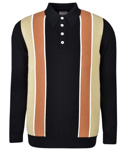 Ska & Soul Black Stripe Panel LS Polo Shirt