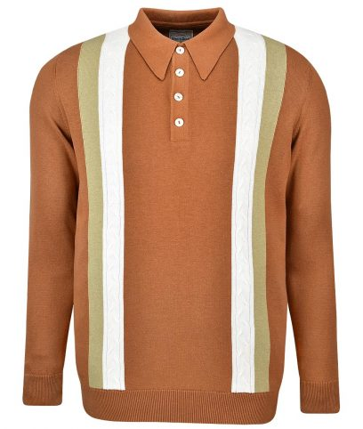 Ska & Soul Ginger Stripe Cable LS Polo Shirt