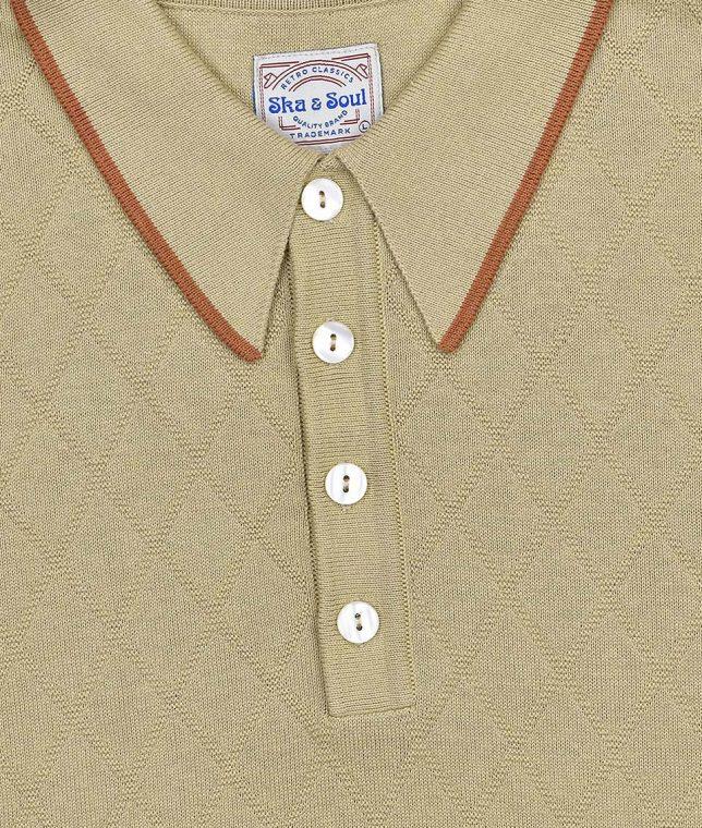 Ska & Soul Sand Diamond Front Knit Polo Shirt