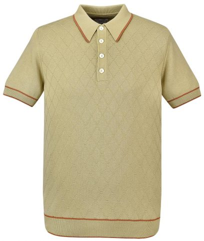 Ska & Soul Sand Diamond Front Knit Polo Shirt