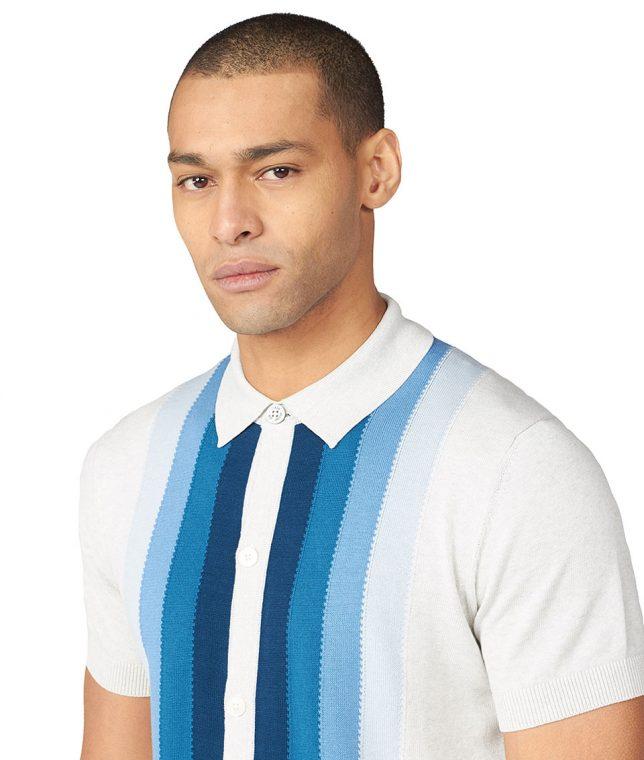 Ben Sherman Ivory Stripe Button Polo Shirt