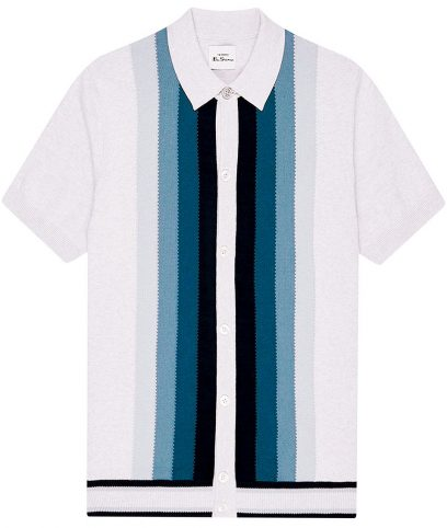 Ben Sherman Ivory Stripe Button Polo Shirt