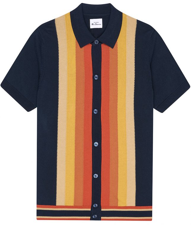 Ben Sherman Navy Stripe Button Polo Shirt