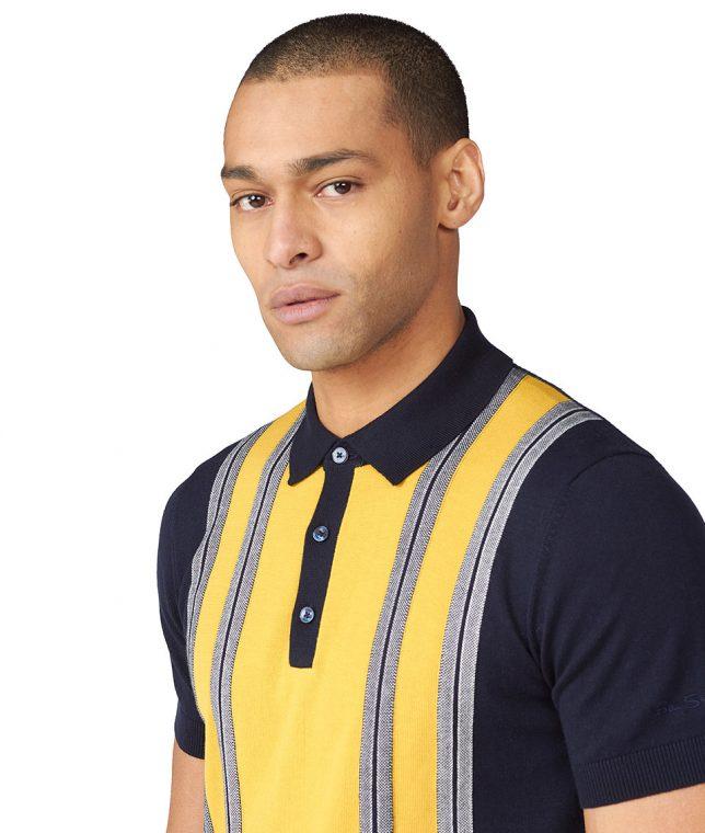 Ben Sherman Navy Stripe Panel Polo Shirt