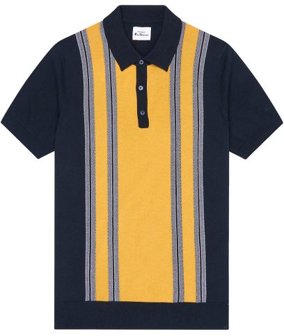Ben Sherman Navy Stripe Panel Polo Shirt