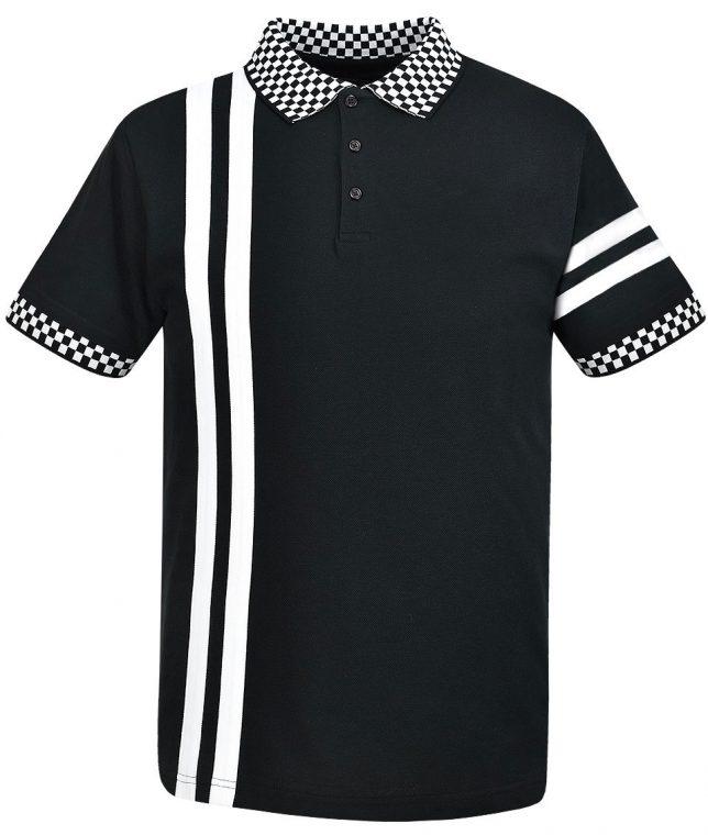 Ska & Soul Black Twin Stripe Cheq Polo Shirt