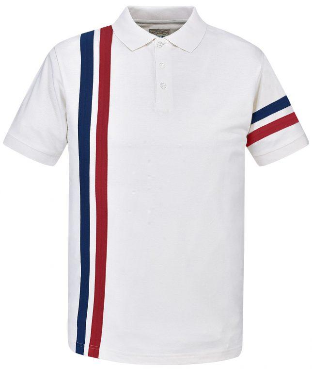 Ska & Soul Ecru Twin Stripe Polo Shirt