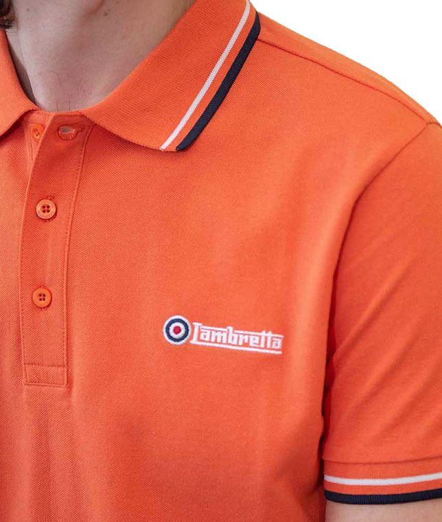 Lambretta Orange Twin Tipped Polo Shirt