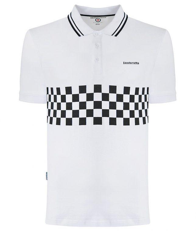 Lambretta White Two Toned Tipped Polo Shirt