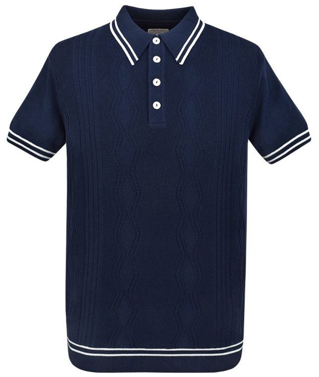Ska & Soul Navy Stripe Cable Knit Polo Shirt