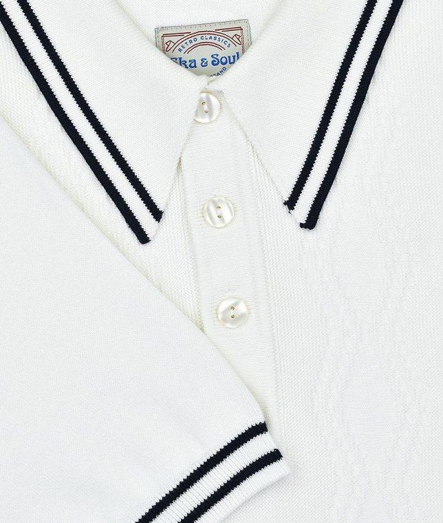Ska & Soul Ecru Stripe Cable Knit Polo Shirt