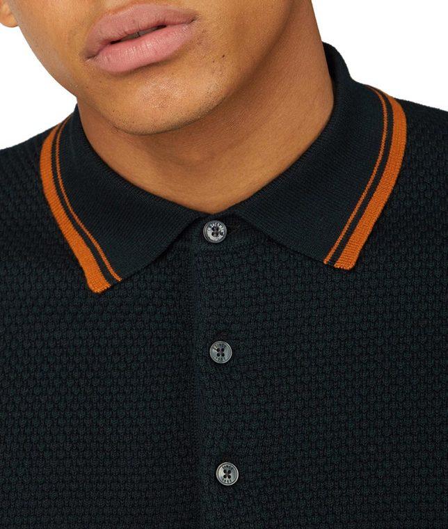 Ben Sherman Black Textured Knit Polo Shirt