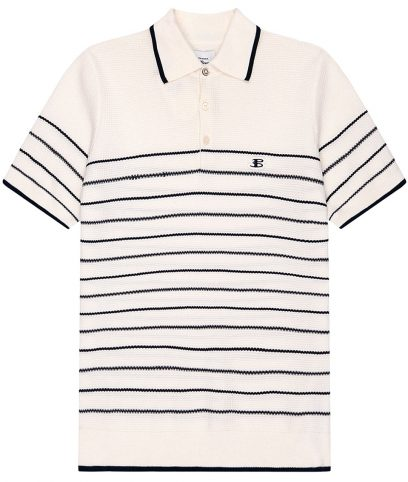 Ben Sherman Ivory Textured Stripe Polo Shirt