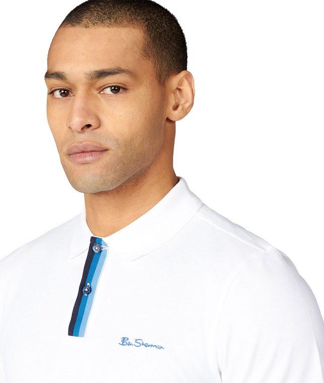 Ben Sherman White Stripe Placket Polo Shirt