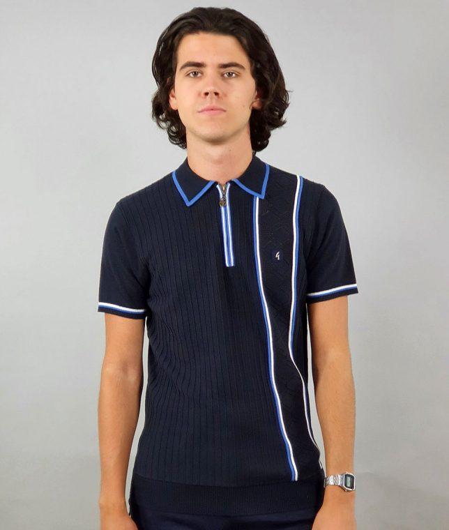 Gabicci Vintage Navy McQueen Stripe Panel Polo Shirt