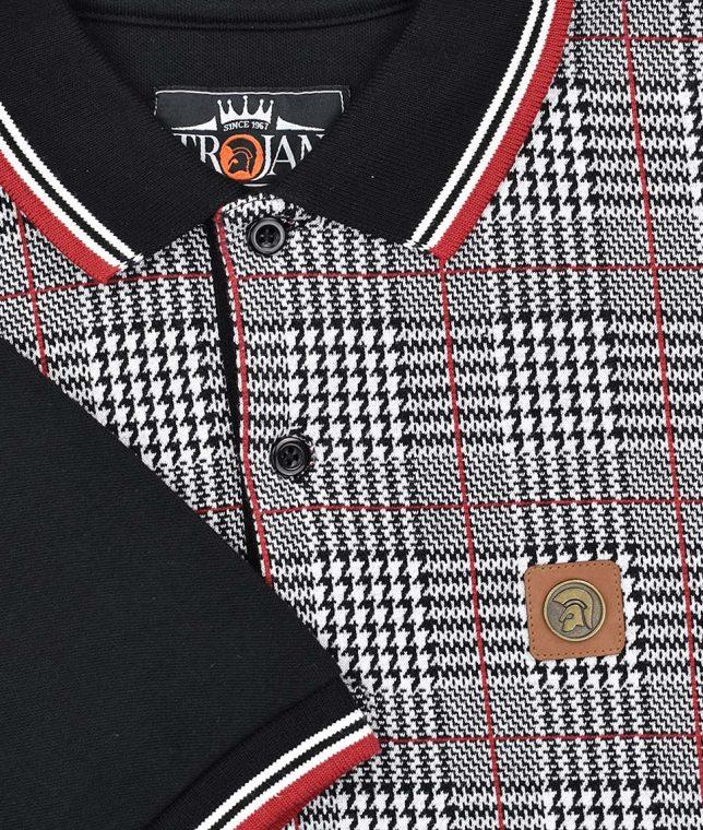 Trojan Records Black Prince Of Wales Panel Polo Shirt