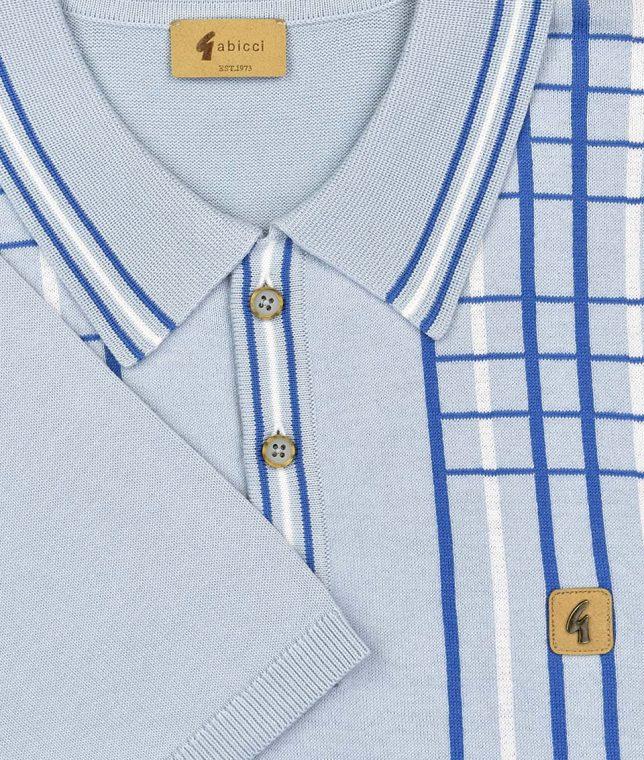 Gabicci Vintage Ice Bale Check Stripe Polo Shirt