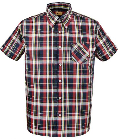 Gabicci Vintage Navy Caine Check Shirt