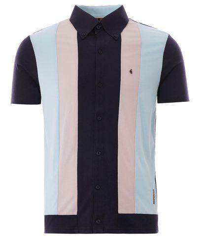 Gabicci Vintage Navy Gregory Isaacs Negril Stripe Polo Shirt