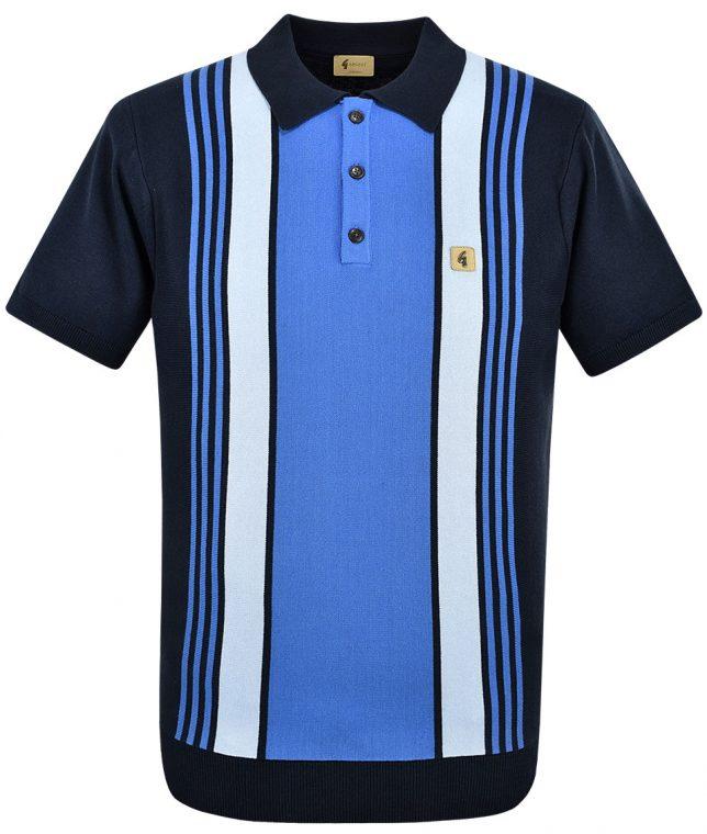 Gabicci Vintage Navy Searle Stripe Polo Shirt