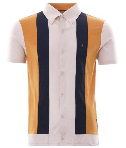 Gabicci Vintage Oat Gregory Isaacs Negril Stripe Polo Shirt