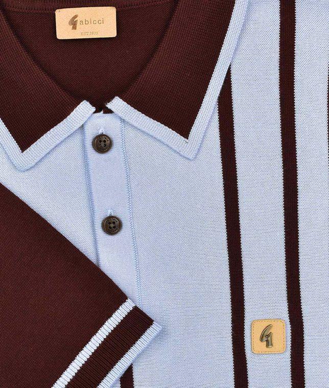 Gabicci Vintage Oxblood Peck Stripe Polo Shirt