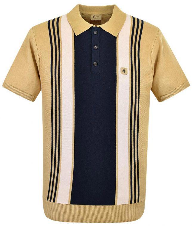 Gabicci Vintage Sand Searle Stripe Polo Shirt