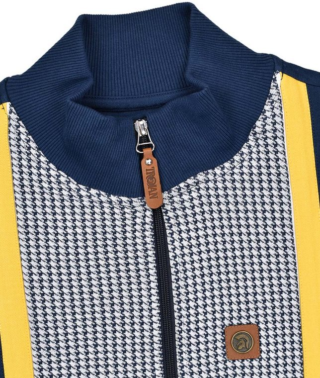 Trojan Records Navy Houndstooth Panel Track Top