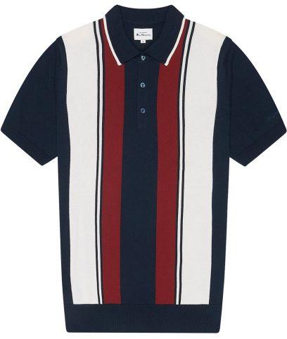Ben Sherman Navy Vertical Stripe Polo Shirt